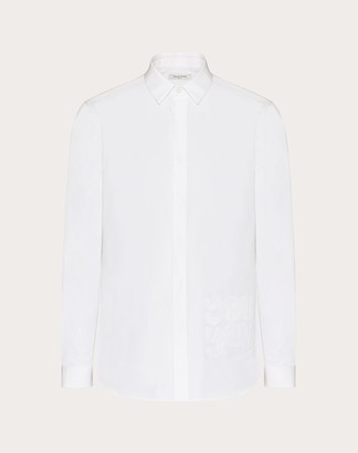 Valentino Long-sleeved Shirt With You You Detail Man Optic White Cotton 100% 38
