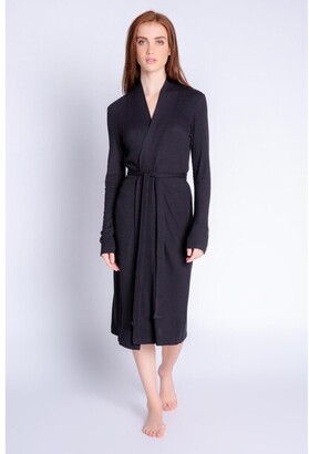 PJ Salvage Textured Lounge Solid Robe, Black X-Large