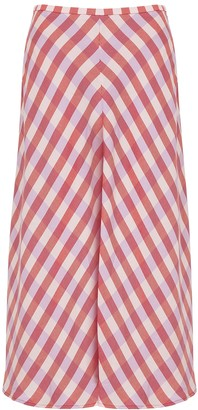 Samsoe & Samsoe Samse Samse Loreta Checked Bias-cut Twill Midi Skirt