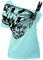 Imixshop Women's Skew Collar Butterfly Print Strapy T-Shirt Blouse Casual Tops