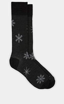 Barneys New York MEN'S SNOWFLAKE-MOTIF WOOL-BLEND SOCKS - GRAY