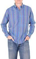 Men's Handwoven Blue Striped Long Sleeved Cotton Shirt, 'Magic of Panajachel'