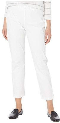 Eileen Fisher Mid-Rise Ankle Pants w/ Slits (White) Women's Casual Pants
