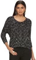 JLO by Jennifer Lopez Women's Marled Crewneck Sweater