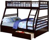 True Contemporary Twin over Full Bunk Bed with Storage Drawers and Solid Wood