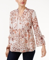 Style&Co. Style & Co Style & Co Petite Floral-Print Peasant Blouse, Created for Macy's