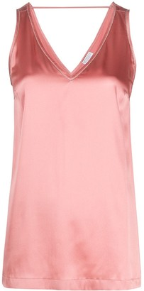 Brunello Cucinelli Satin V-Neck Vest Top