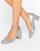 Faith Alexa Ankle Strap Silver Mid Heeled Shoes