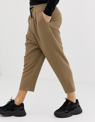 ASOS DESIGN drop crotch tapered crop smart pants in camel with drawcord
