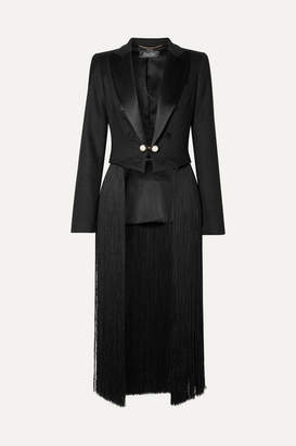 ADAM by Adam Lippes Convertible Cropped Fringed Satin-trimmed Twill Blazer - Black