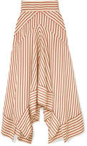 Diane von Furstenberg Asymmetric Striped Satin Midi Skirt - Ivory