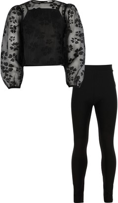 River Island Girls Black organza lace blouse outfit