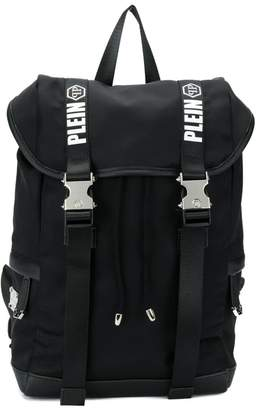 Philipp Plein Junior logo print straps backpack