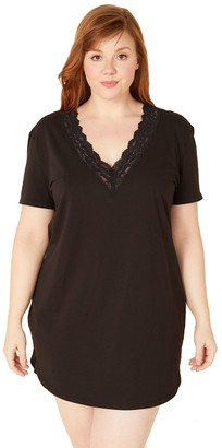 Cosabella Plus Size Love Lace-Trim V-Neck Sleepshirt