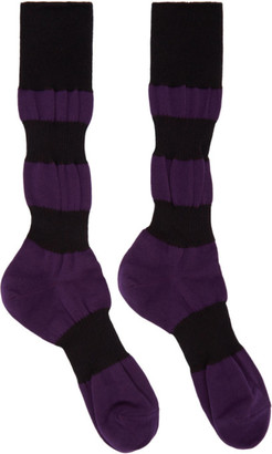 Homme Plissé Issey Miyake Purple and Black Panelled Socks