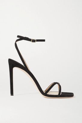 Jimmy Choo Metz 100 Suede Sandals - Black
