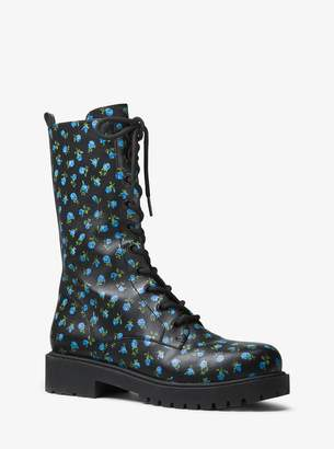 Michael Kors Brenna Rosebud Calf Leather Combat Boot