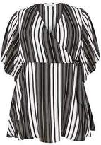 Yours Clothing Women's Plus Size Yours London & White Striped Chiffon Wrap Blouse