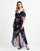 Lipsy Printed Cold Shoulder Frill Maxi Dress