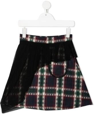 Infantium Victoria Tartan Mesh Overlay Skirt