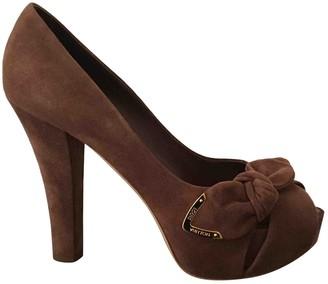 Louis Vuitton Brown Velvet Heels