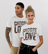 Help Refugees Choose Love t-shirt in white organic cotton with leopard print