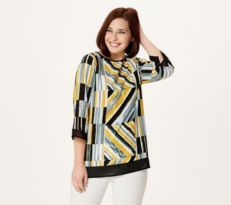 Bob Mackie Abstract Stripe Top with Chiffon Trim