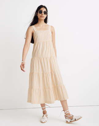 Madewell Striped Button-Back Tiered Midi Dress