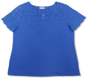 Charter Club Plus Size Solid Eyelet-Yoke Knit Top, Created For Macy's