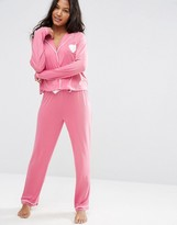 Asos Traditional Jersey Long Sleeve Shirt & Long Leg Pajama Set
