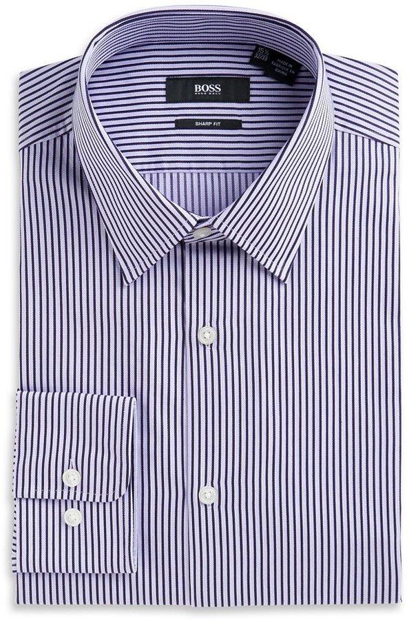 HUGO BOSS 'Marlow US'   Sharp Fit, Spread Collar Striped Dress Shirt by BOSS