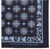 Alexander McQueen Men's Skull-Medallion-Print Cotton Pocket Square