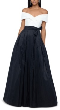 Xscape Evenings Off-The-Shoulder Colorblocked Gown