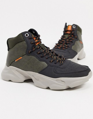 Jack and Jones trainer hiking boots in olive and black
