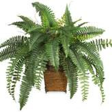 Bed Bath & Beyond Nearly Natural Boston Fern Silk Plant with Wicker Basket
