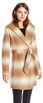 Jessica Simpson Women's Mohair Wool Plaid Wrap Coat