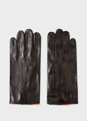 Men's Dark Brown Leather Gloves With 'Artist Stripe' Piping