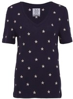 Zoe Karssen Women's All Over Star Print Knitted VNeck T-Shirt - Eclipse