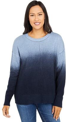 Elliott Lauren Ombre Crew Neck Sweater with Front Seam Detail (Blue/Navy) Women's Sweater
