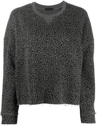 ATM Anthony Thomas Melillo Leopard Print Cropped Sweatshirt