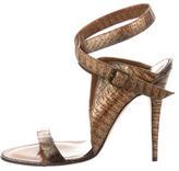 Manolo Blahnik Snakeskin Metallic Sandals