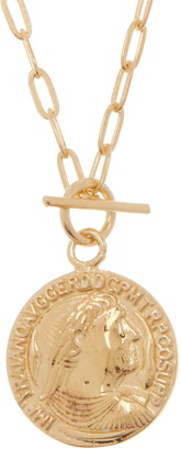 Argentovivo Gold Plated Sterling Silver Toggle Coin Pendant Necklace