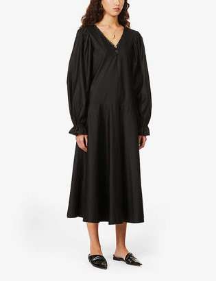 Maggie Marilyn In To Win It puff-sleeve organic cotton midi dress