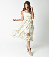 Unique Vintage 1950s Style White & Gold Floral Embroidered Midi Swing Dress