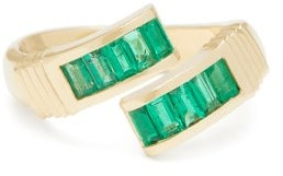 Retrouvaí Wrap Emerald & 14kt Gold Ring - Green