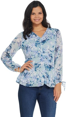 Belle By Kim Gravel Belle by Kim Gravel Ruched V-Neck Blouse with Tie Sleeve