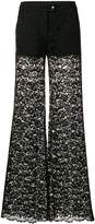 Philipp Plein lace flared trousers with contrasting side panels
