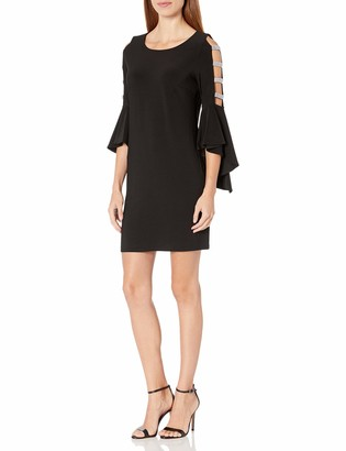 MSK Women's Bell Sleeve Dress with Ladder Trim