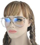 INCL/Oversizedetal Geoetric Frae Clear Lens and Color Sunglasses -yhl