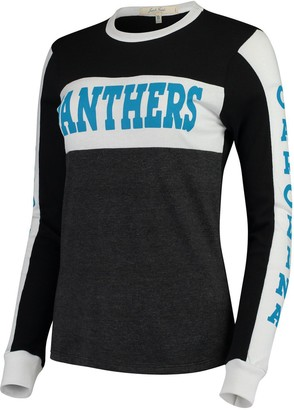 Junk Food Clothing Unbranded Women's Black/Charcoal Carolina Panthers Color Block Racer Long Sleeve T-Shirt